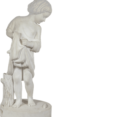 """American School Classical Marble Sculpture""""Young Boy with Fish"""" circa 1850"""