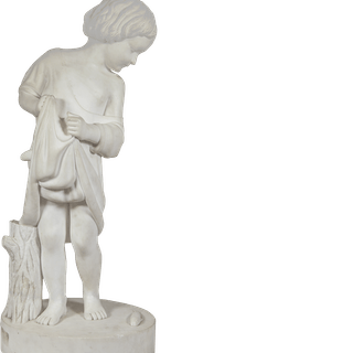 "American School Classical Marble Sculpture""Young Boy with Fish"" circa 1850"