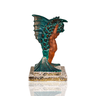 Boulogne France Art Deco Pottery Sculpture of Putti and Dragon Fish