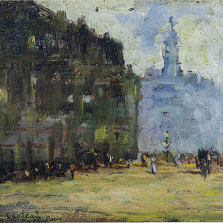 "Alfred Chateau [1833-1908] French Impressionist Painting ""Boulevard"