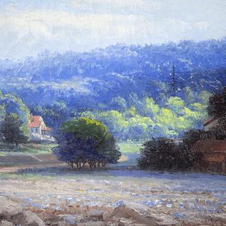 "Marta M Wadsworth [1859-1925] American artist ""Landscape vista"" circa 1914"