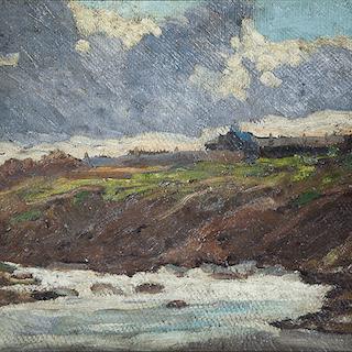 "Lorenzo Delleani [1840-1908] Italian ""At Waters Edge"" ,circa 1896"