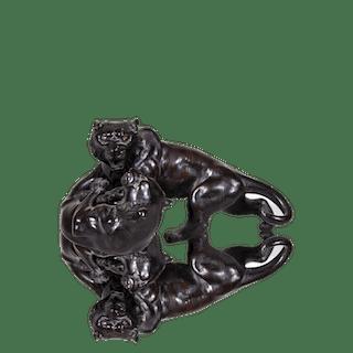 "Chinese school bronze ""Tigers"", ca.1890s."