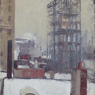 American Ash-Can Painting : Building New York in the snow, ca.1910s.