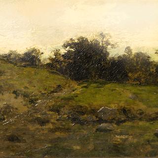 "American School Realist Landscape ""Before Sunrise"", ca.1900"