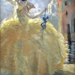 "Italian School "" Masquerade,Woman In Yellow "" circa 1900"