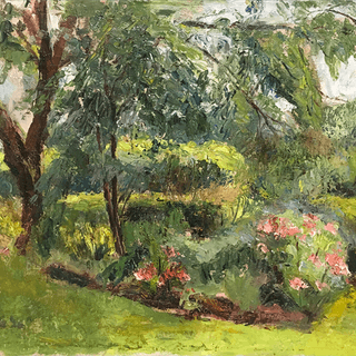 "American School signed lower left ""In the Garden"" 1926"