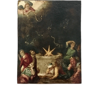 "Continental school 17th century painting on copper "" Gabriel playing"