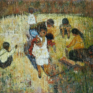 """Latin American School Neo-Impressionist painting """"Family at Play"""" circa 1940's"""