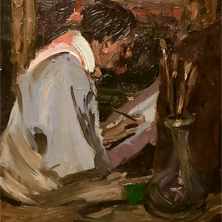 "American school "" Artist at work "" circa 1900"