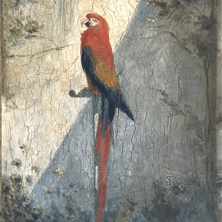 """French School Impressionist painting """"The Parrot"""", circa 1890"""