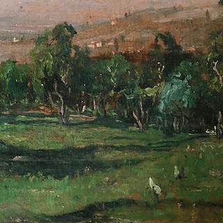 "Giovanni Depetris [1890-1940] Italian impressionist landscape "" Napoli"" 1905"
