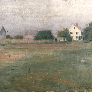 """American School """"Houses in the Distance"""" circa 1890"""