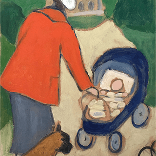 """French school """"Mother baby and dog"""" ca.1920"""