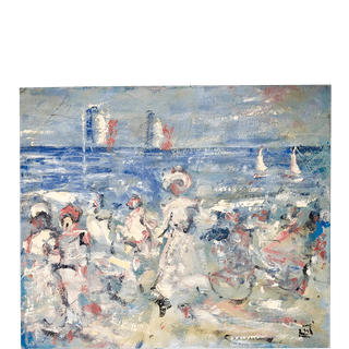 "English School Impressionist Painting ""Figures on the Beach"", 1939"