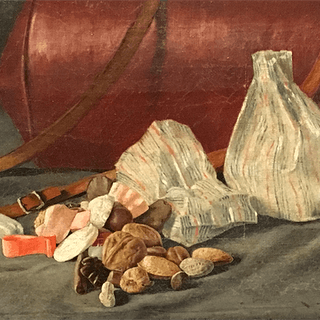 """American School """"Still life with candy and nuts"""", 1888."""
