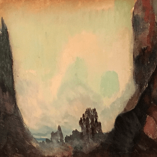 "American school mixed media ""Through the ravine"", ca.1920."
