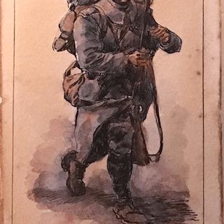"""French school """"Soldier in full gear"""", 1917."""