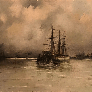 "French school ""Boats on harbor"", 1882."