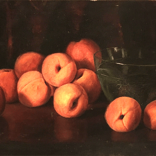 "American school ""Washing peaches : Still life with fruit and bowl"", ca.1890."