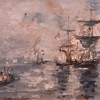 "French school ""Boats in the harbor"", 1907."