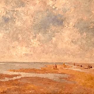 "Italian / Spanish school Impressionist painting ""Sunning on the sand"