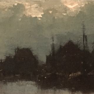 "American school impressionist painting ""Harbor at night"", ca.1900."