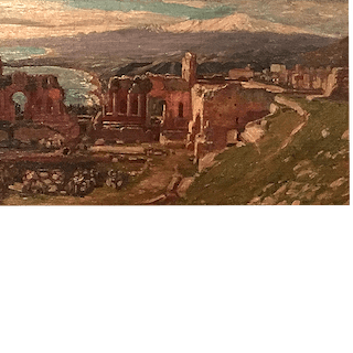 Italian Realist landscape painting Pompeii : In the shadow of Mt.