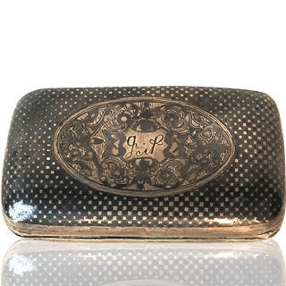 Russian niello metalware Box with factory pictured initialed GP, ca.1870.