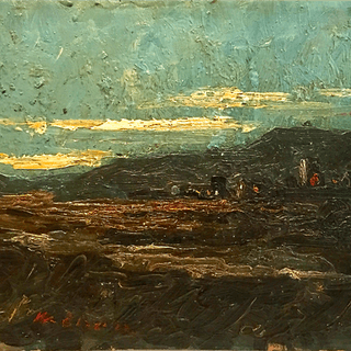 Spanish realist oil sketch Ledges by Barcelona, ca.1920s.
