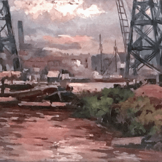 Andre Bouchonville [early 20th-century] industrial painting The port, ca.1920s.