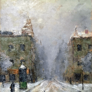 American or English landscape painting : The snow storm, circa 1910.