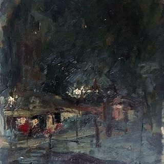 Semi abstract modernist painting : Hacienda, 1936.