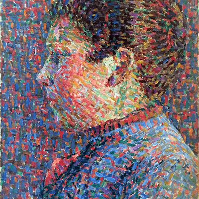 French school pointillist painter : Portrait of young girl, ca.1870.