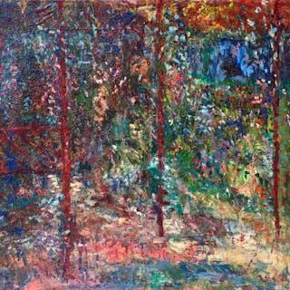 European School signed Impressionist landscape : Forest interior, 1885