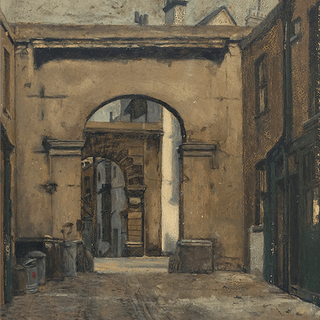 N. Smirnoff [early 20th century] realist painting : The alleyway, ca.1910.