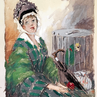 Wilson Nesbitt Benson [1861-1930] New York artist : Old lady and parrot