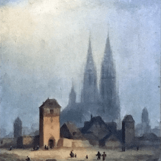 French school cityscape painting : Chartres Cathedral and Fort de