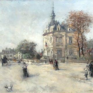 Jean Francois Raffaëlli [1850-1924] : La Mairie d' Asnieres-sur-Seine, ca.1880