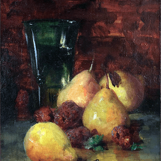 American school signed still-life painting : Still life with pears, ca.1888.