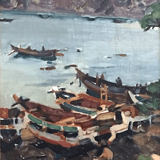 F Koike [20th century] Japanese : Boats at port, ca.1940's