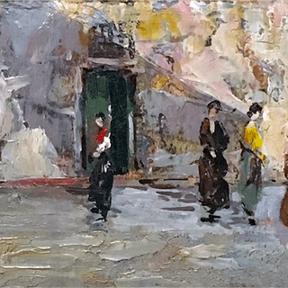 Leonardo Bazzaro [1853-1937] : People in the street, ca.1920s.