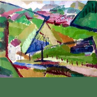 Beulah (Elsie Sloan) Stevenson [1890-1965] American : Distant village, ca.1930.