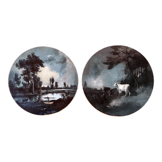 American Barbizon school paintings : Pair of grisaille landscapes