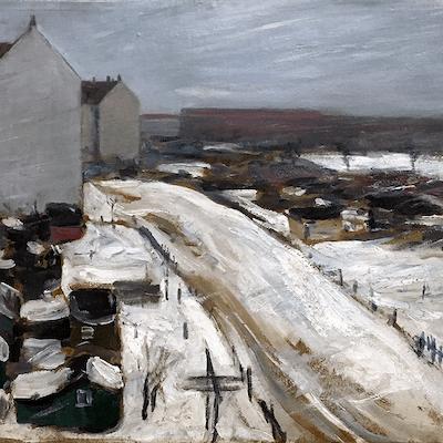 M Lighton[?] English painter : The yard, ca.1920s.