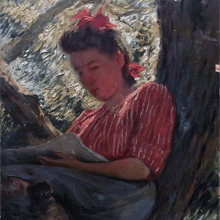 Joseph Henry Hatfield [1863-1928] American artist : Reading in a tree, ca.1910.