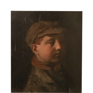 American Ashcan School signed : School boy with cap , ca.1900.