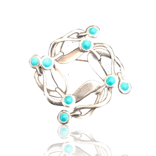 Rancho Alger [?-?] Mexican sterling : Sterling silver and turquoise