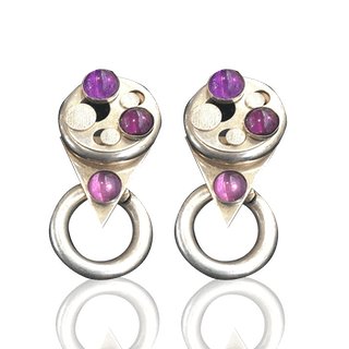 [unattributed] American : Signed sterling silver and amethyst earrings