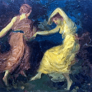 "American ?/ European school ? Art nouveau painting "" The two Dancers"""